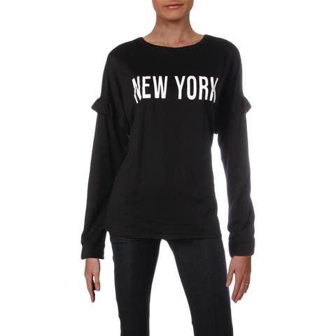 Pretty Rebellious Womens Juniors New York Sweatshirt Ruffled Graphic