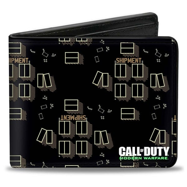 Call Of Duty Modern Warfare Shipment Map Black Tans White Bi Fold Wallet - One Size Fits most