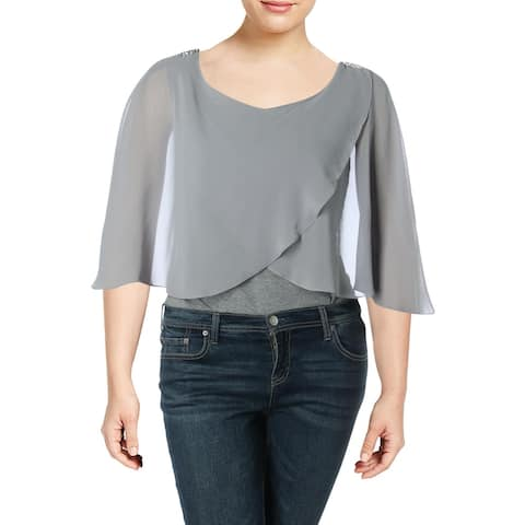 SL Fashions Womens Capelet Sheer Embellished - Frost Grey - 20W