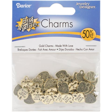 Metal Charms 50/Pkg-Gold Made With Love - Gold