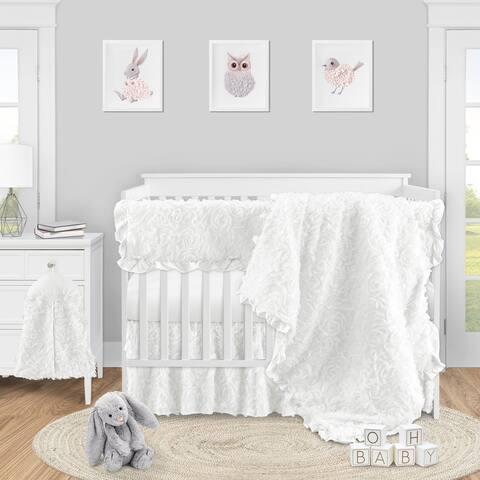 White Floral Rose Girl 5pc Nursery Crib Bedding Set - Solid Flower Luxurious Elegant Princess Vintage Boho Shabby Chic Luxury