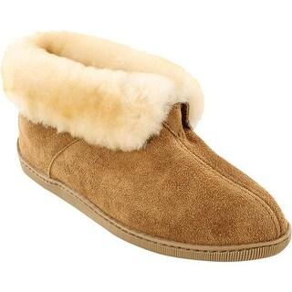 Minnetonka Men's Sheepskin Ankle Boot Golden Tan Suede/Sheepskin