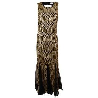 Calvin Klein Women's Sleeveless Sequined Open Back Gown