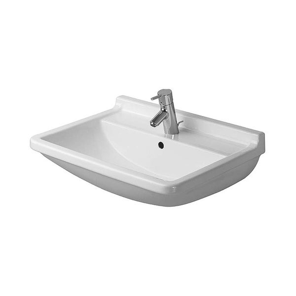 "Duravit 300650030 Starck 3 Ceramic 25-5/8"" Bathroom Sink for Wall Mounted or Pedestal Installations with Widespread Faucet Holes"