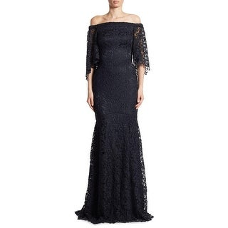 Theia Off Shoulder Lace Trumpet Evening Gown Dress Midnight - 12