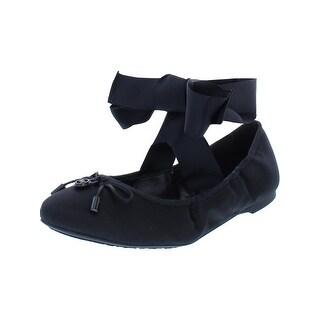 MICHAEL Michael Kors Womens Myles Ballet Shoes Satin Ankle Wrap - 6 medium (b,m)
