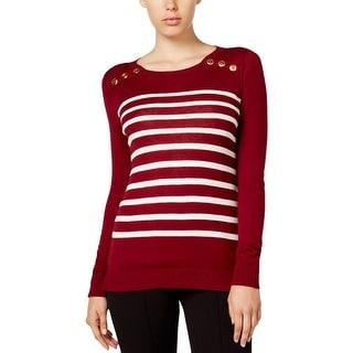 Kensie Womens Sweater Striped Long Sleeves