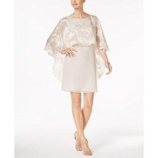 Jessica Howard NEW Ivory Womens 6 Floral Burnout Capelet Sheath Dress