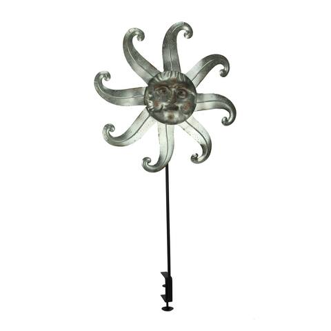 Metal Celestial Sun Deck Mount Wind Spinner - 38.5 X 19.5 X 3.75 inches