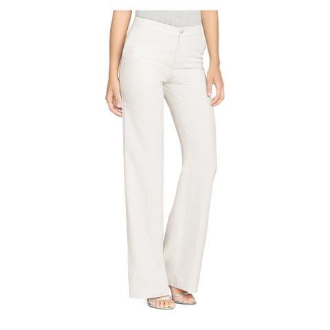 RALPH LAUREN Womens Ivory Wide Leg Wear To Work Pants Size 10