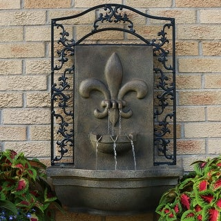 Sunnydaze French Lily Electric Outdoor Wall Fountain - Florentine Stone