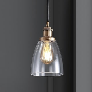 """Link to Cleo 5.5"""" Adjustable Metal/Glass LED Pendant, Brass Gold by JONATHAN  Y Similar Items in Pendant Lights"""