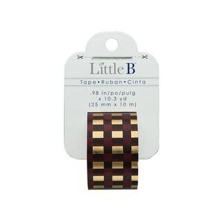 102505 Little B Paper Tape 25mm Gold Foil Autumn Plaid