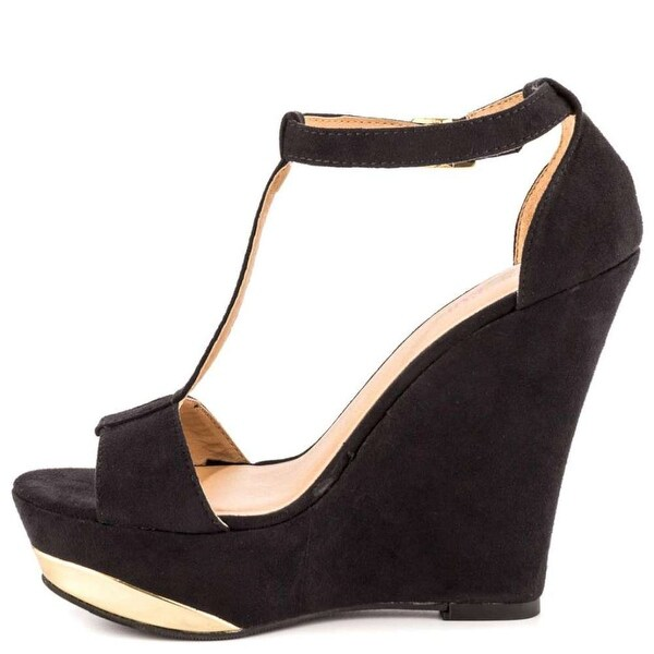 Just Fab Womens Ariel Open Toe Casual Platform Sandals, Black, Size 8.0