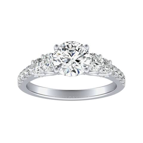 Auriya 14k Gold 2 1/4cttw 5-Stone Moissanite Engagement Ring