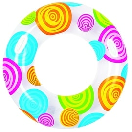 "35"" Circles and Swirls Fashion Inflatable Swimming Pool Inner Tube Ring Float with Handles"