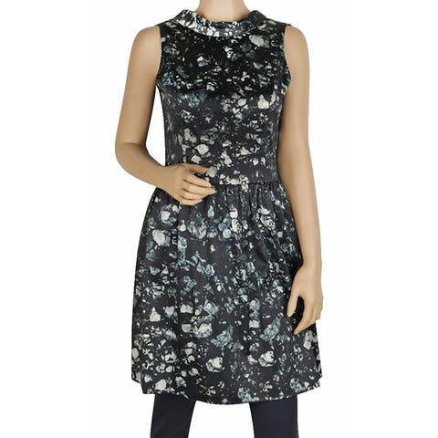 BADGLEY MISCHKA Green Floral Open Back Skirted Sleeveless Dress (4)
