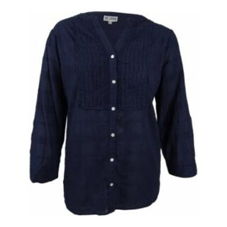 JM Collection Women's Plus Size Tonal-Plaid Shirt, Intrepid Blue, PL