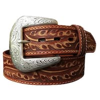 Roper Western Belt Mens Hand Tooled Feather Design Daybreak