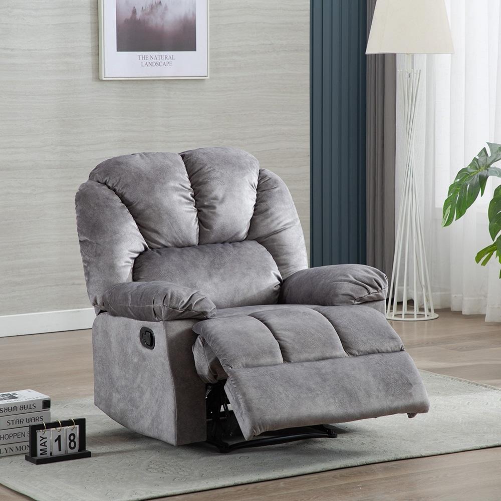 Manual Recliner Chair Comfortable Velvet Fabric Overstuffed Overstock 32583445