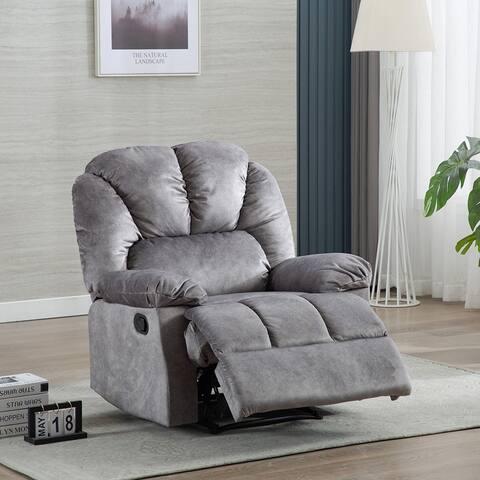 Manual Recliner Chair - Comfortable Velvet Fabric Overstuffed