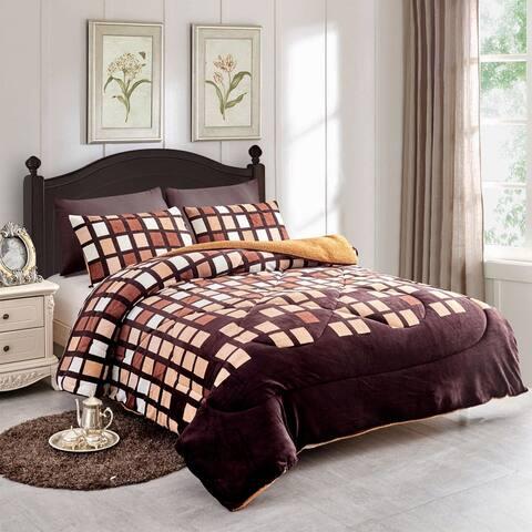3 piece Fleece/Sherpa Comforter Set Down Alternative
