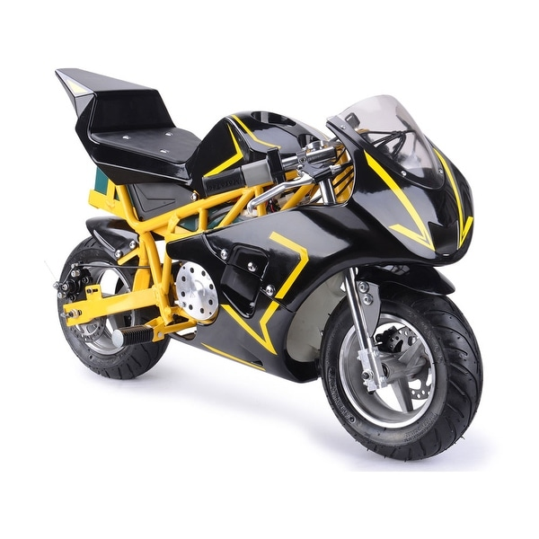 Shop MotoTec 36v 500w Electric Pocket Bike GT Yellow - Free