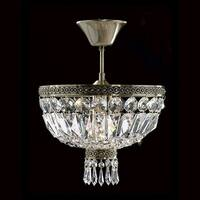 """Worldwide Lighting W33087B12 Metropolitan 1-Light 12"""" Semi-Flush Ceiling Fixture in Antique Bronze with Clear Crystals"""