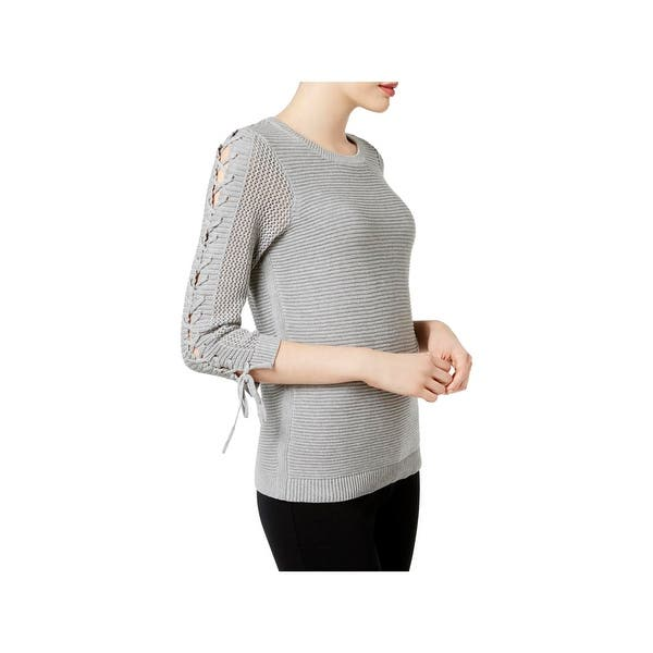 Shop Calvin Klein Womens Tunic Sweater Lace Up Sleeves Knit