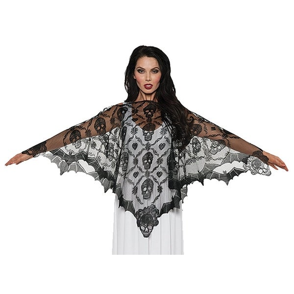 Vampire Lace Poncho Adult Costume - Black