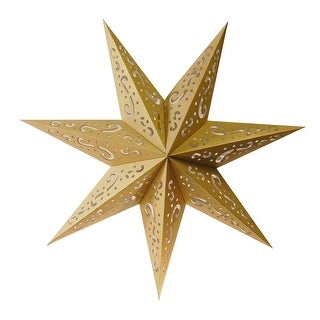 Pack of 3 Hanging Gold 7 Point Star Paper Lanterns with Swirl Design 16
