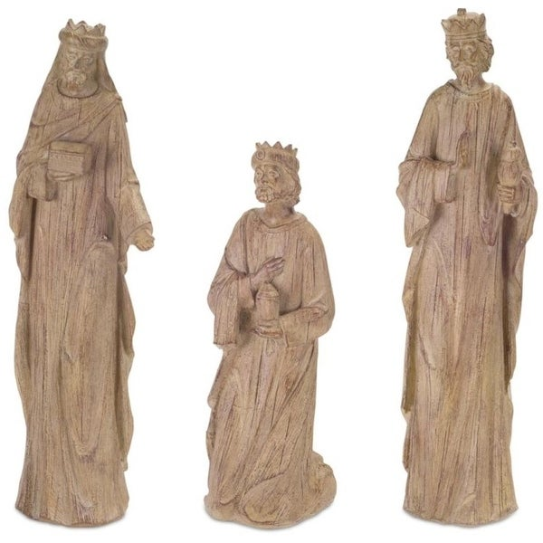 """Pack of 3 Decorative Country Rustic Holiday Wisemen Nativity Figures 12""""-16.75""""H"""