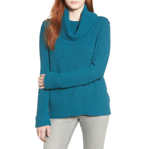 Caslon Womens Sweater Teal Blue Size Large L Cowl Neck Textured Knit