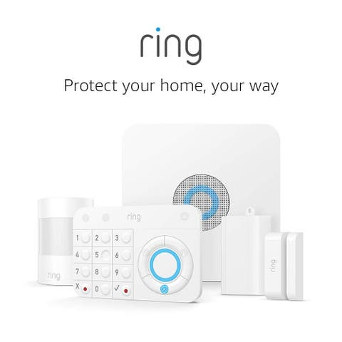 Ring Alarm Wireless Home Security 5 Piece Kit White Works with Alexa - 7.8 x 8.13 x 5.0