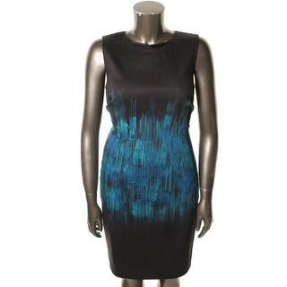 Elie Tahari Womens Emory Printed Sleeveless Wear to Work Dress