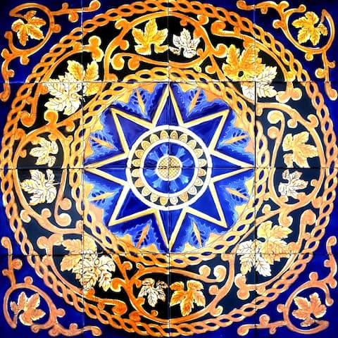 24in x 24in Mosaic Medallion Design 16pc Tile Ceramic Wall Mural