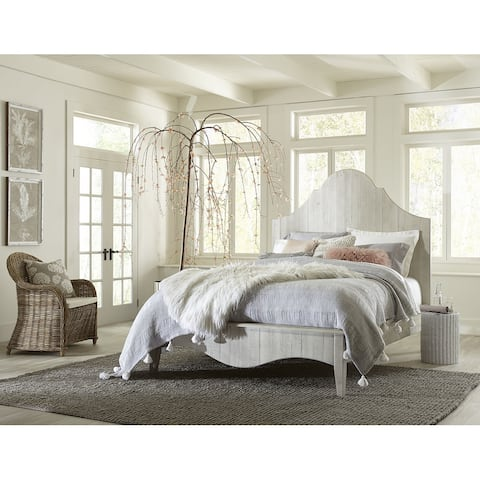 Ella Solid Wood Scroll Bed in White Wash