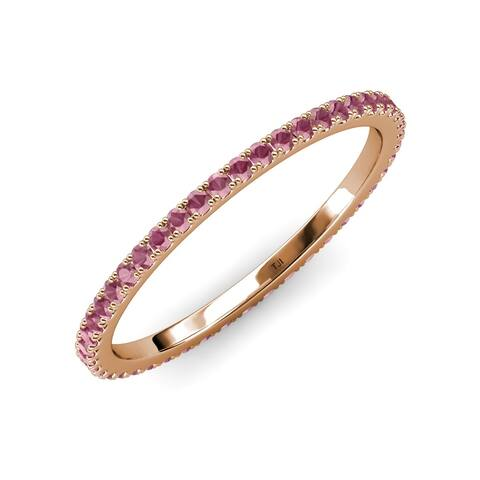 TriJewels Rhodolite Garnet 3/4 ctw French Set Women Eternity Ring 14K Gold