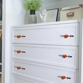 Ceramic Knobs Retro Drawer Handle Cupboard Wardrobe Cabinet Accessories Orange