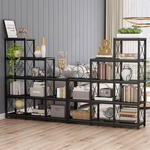 Wooden 5-Tier Bookshelf, Ladder Corner Bookcase