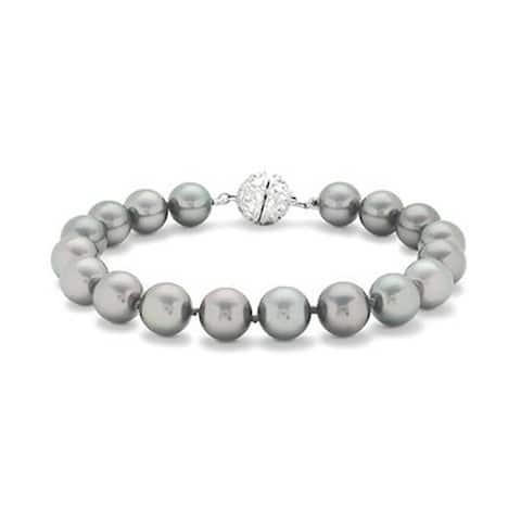 Grey Strand Bracelet For Women Rhodium Plated Crystal Clasp Imitation Pearl 10mm 7 inch
