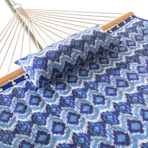 Large 2 Person Quilted Hammock Combo with Pillow and Stand