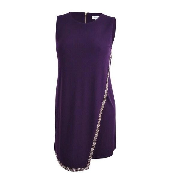 Calvin Klein Women\'s Plus Size Studded Faux Wrap Dress - Aubergine