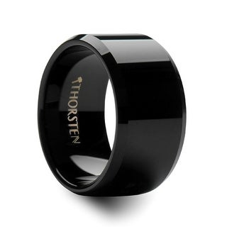 INFINITY Black Tungsten Wedding Ring with Beveled Edges - 12mm