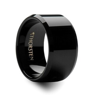 THORSTEN - INFINITY Black Tungsten Wedding Ring with Beveled Edges - 12mm