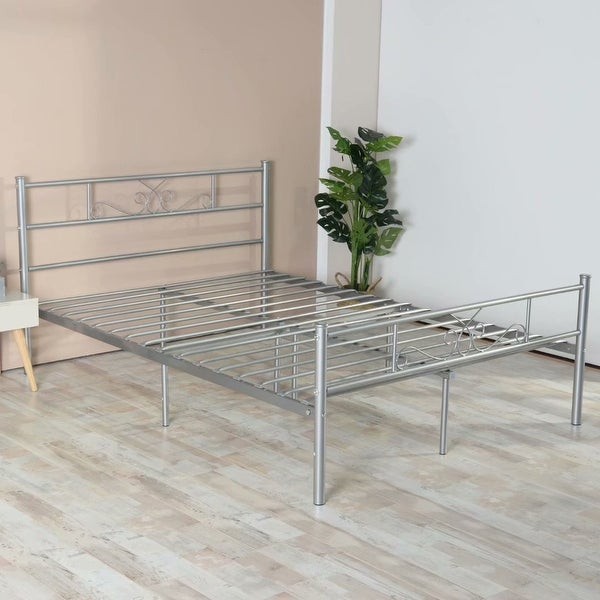 Simlife 12.8'' High Understorage Metal Bed Frame With Headboard ,Twin/Full (Silver)