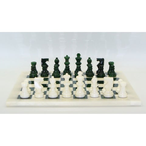 Green & White Alabaster Chess Set