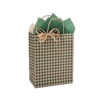 "Pack Of 25, Cub 8 X 4.75 X 10.25"" Hunter Gingham Kraft Paper Shopping Bags Made In Usa For Christmas & Year-Round Packaging"