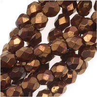 Czech Fire Polished Glass Beads 4mm Round Opaque Red Bronze Metallic (50)