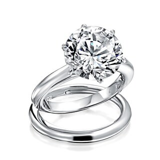 Link to 3.5CT Simple Round Solitaire 6 Prong AAA CZ Engagement Wedding Band Ring Set For Women 925 Sterling Silver Similar Items in Rings